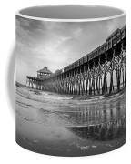 Folly Beach Pier In Black And White Coffee Mug