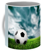 Football Soccer A Leather Ball On Grass Coffee Mug