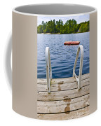Footprints On Dock At Summer Lake Coffee Mug