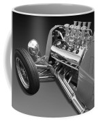 Ford Coupe Hot Rod Engine In Black And White Coffee Mug