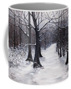Forest Path In Winter Coffee Mug