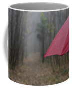 Forest With A Red Umbrella Coffee Mug