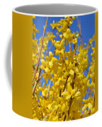 Forsythia On Blue Coffee Mug