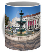 Fountain And Theater On Rossio Square In Lisbon Coffee Mug