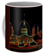 Fountain At City Garden In Neon Framed Coffee Mug