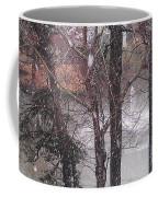 Fountain During Snowfall Coffee Mug