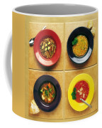 Four Dishes Of Different Food Coffee Mug
