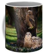 Four Owl Chicks In A Dark Forest Coffee Mug