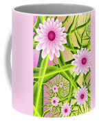 Fractal Fantasy Neon Flower Garden Coffee Mug