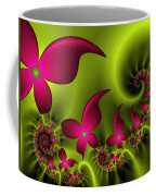 Fractal Fluorescent Fantasy Flowers Coffee Mug