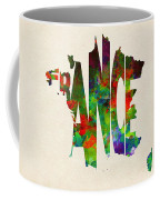 France Typographic Watercolor Map Coffee Mug