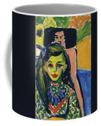 Franzi In Front Of Carved Chair Coffee Mug