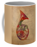 French Horn Brass Instrument Watercolor Portrait On Worn Canvas Coffee Mug