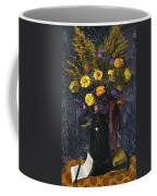 French Marigold Purple Daisies And Golden Sheaves Coffee Mug