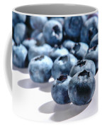 Fresh And Natural Blueberries Close Up On White Coffee Mug