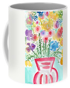 Fresh Picked Flowers- Contemporary Watercolor Painting Coffee Mug by Linda Woods