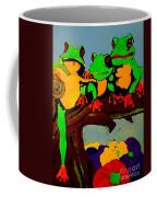 Frog Family Hanging Out On A Limb Coffee Mug