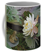 Frog In Awe Of White Water Lily Coffee Mug