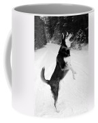 Frolicking In The Snow - Black And White Coffee Mug by Carol Groenen