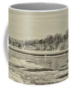 Frozen Boathouse Row In Sepia Coffee Mug