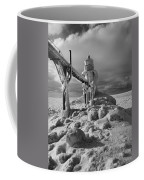 Frozen Grand Haven Lighthouse Black And White Coffee Mug