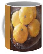 Fruit Still Life Oranges And Antique Silver Coffee Mug