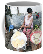 Fruit Vendor On Street Yangon Myanmar Coffee Mug