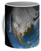 Ful Earth Showing Simulated Clouds Coffee Mug by Stocktrek Images