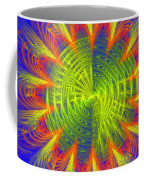 Futuristic Disc Blue Red And Yellow Fractal Flame Coffee Mug