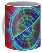 Futuristic Tech Disc Red And Blue Fractal Flame Coffee Mug