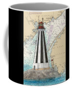 Gannet Rock Lighthouse New Brunswick Canada Nautical Chart Art Coffee Mug