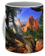 Garden Framed By Twisted Juniper Trees Coffee Mug
