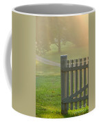 Gate In Morning Fog Coffee Mug by Olivier Le Queinec