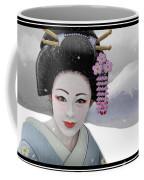 Geisha In Snow On Mt. Fuji Coffee Mug
