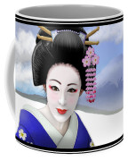 Geisha On Mount Fuji Coffee Mug