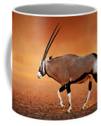 Gemsbok On Desert Plains At Sunset Coffee Mug