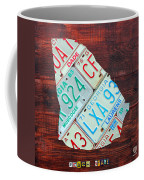 Georgia The Peach State License Plate Map On Fruitwood Coffee Mug