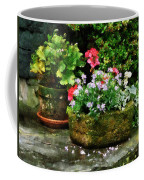 Geraniums And Lavender Flowers On Stone Steps Coffee Mug