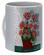 Geraniums In A Copper Pot Coffee Mug