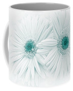 Gerber Daisy Flowers In Teal Coffee Mug