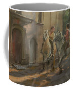 Getting Ready For The Bull Run, 2009 Pastel On Paper Coffee Mug