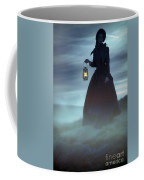 Ghostly Victorian Woman With A Lamp In Fog At Night Coffee Mug