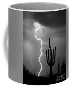 Giant Saguaro Cactus Lightning Strike Bw Coffee Mug