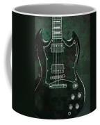 Gibson Sg Standard Green Grunge With Skull Coffee Mug