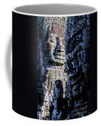 Gigantic Face Statues At Khmer Temple Angkor Wat Ruins Cambodi Coffee Mug