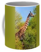 Giraffe Among Trees. Safari In Serengeti. Tanzania Coffee Mug