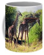 Giraffes On Savanna Eating. Safari In Serengeti Coffee Mug