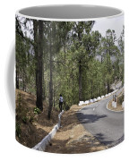 Girl On A Mountain Highway Road Coffee Mug