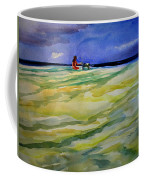 Girl With Dog On The Beach Coffee Mug