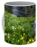 Glacier Lilies And Globeflower Beside A Mountain Stream Coffee Mug